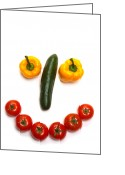 Lips  Greeting Cards - Happy Veggie Face Greeting Card by Olivier Le Queinec