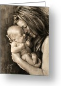 Drawing Pastels Greeting Cards - Happy Young Mother Greeting Card by Ylli Haruni