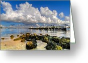 Bridge Greeting Cards Greeting Cards - Harbor Clouds at Boynton Beach Inlet Greeting Card by Debra and Dave Vanderlaan