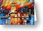 Europe Painting Greeting Cards - Harbor Of Excitement Greeting Card by Leonid Afremov