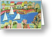Beach Decor Digital Art Greeting Cards - Harbor Of Gardens  Greeting Card by Karen Fields