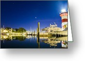 Light House Greeting Cards - Harbor Town Yacht Basin Light House Hilton Head South Carolina Greeting Card by Dustin K Ryan