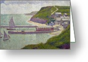 Pointillist Painting Greeting Cards - Harbour at Port en Bessin at High Tide Greeting Card by Georges Pierre Seurat