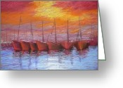 Gloaming Greeting Cards - Harbour Greeting Card by Regina Levai