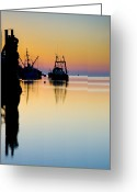 Contre Jour Greeting Cards - Harbour Sunrise Greeting Card by Trevor Chriss