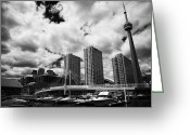 Harbourfront Greeting Cards - Harbourfront Marina And Pedestrian Bridge Toronto Skyline Ontario Canada Greeting Card by Joe Fox