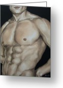 Nude Greeting Cards - Hard Body Greeting Card by Jindra Noewi