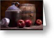 Tin Greeting Cards - Hard Cider Still Life Greeting Card by Tom Mc Nemar
