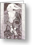 Hare Drawings Greeting Cards - HareKlimt Greeting Card by Herb Russel