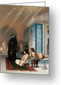 Hussein Greeting Cards - Harem Pool Greeting Card by Pg Reproductions