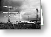 Construction Yard Greeting Cards - Harland And Wolff Shipyard Belfast Northern Ireland Greeting Card by Joe Fox