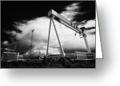 Construction Yard Greeting Cards - Harland And Wolff Shipyard Titanic Quarter Queens Island Belfast Northern Ireland Uk Greeting Card by Joe Fox