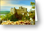 England Greeting Cards - Harlech Castle Greeting Card by Kurt Van Wagner