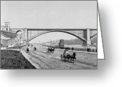 Old Street Greeting Cards - Harlem River Speedway Scene Beneath the George Washington Bridge Greeting Card by International  Images