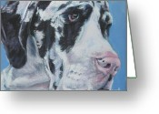 L.a.shepard Greeting Cards - harlequin Great Dane Greeting Card by Lee Ann Shepard