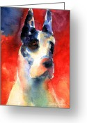 Contemporary Drawings Greeting Cards - Harlequin Great dane watercolor painting Greeting Card by Svetlana Novikova