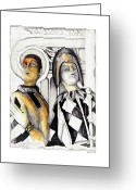 Portraits Mixed Media Greeting Cards - Harlequins Greeting Card by Bob Salo
