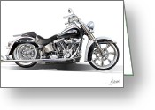 Harley Davidson Art Greeting Cards - Harley bike Greeting Card by Alain Jamar