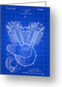 Cycles Digital Art Greeting Cards - Harley-Davidson Engine Patent Greeting Card by Stephen Younts