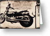 Biker Greeting Cards - Harley Davidson Motor Cycles Greeting Card by Bill Cannon