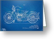 Patent Greeting Cards - Harley-Davidson Motorcycle 1928 Patent Artwork Greeting Card by Nikki Marie Smith