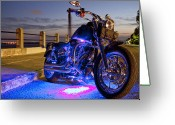 Blue Greeting Cards - Harley Davidson Motorcycle Greeting Card by Dustin K Ryan
