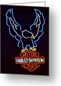 Neon Sign Greeting Cards - Harley Davidson Neon Sign Greeting Card by Jill Reger