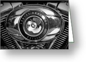 Riders Greeting Cards - Harley-Davidson Police B and W Greeting Card by Cricket Hackmann