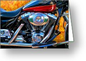 Biker Greeting Cards - Harley Davidson Road King Greeting Card by David Kyte