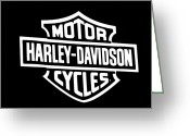 Cycles Digital Art Greeting Cards - Harley Davidson Sign BW Greeting Card by Andee Photography