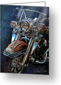 David Kyte Greeting Cards - Harley Davidson Ultra Classic Greeting Card by David Kyte