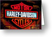 Las Vegas Greeting Cards - Harley Downtown Vegas Greeting Card by Andy Smy