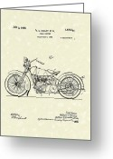 Patent Artwork Greeting Cards - Harley Motorcycle 1928 Patent Art Greeting Card by Prior Art Design