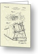 Harley Davidson Art Greeting Cards - Harley Motorcycle 1938 Patent Art Greeting Card by Prior Art Design
