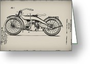 Biker Greeting Cards - Harley Motorcycle Patent Greeting Card by Bill Cannon