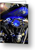 Engines Greeting Cards - Harleys Twins Greeting Card by DigiArt Diaries by Vicky Browning