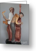 Blues Sculpture Greeting Cards - Harmonizing in D Greeting Card by Wayne Headley