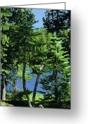 North American Greeting Cards - Harmony in Green and Blue - Manzanita Lake - Lassen Volcanic National Park CA Greeting Card by Christine Till