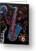 Instruments Mixed Media Greeting Cards - Harmony in Jazz Greeting Card by Bill Manson
