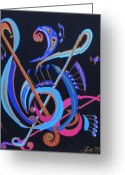 Artists Mixed Media Greeting Cards - Harmony IV Greeting Card by Bill Manson