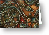 Gears Greeting Cards - Harmony Greeting Card by Michael Lang