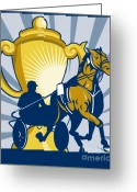Stallion Greeting Cards - Harness cart horse racing Greeting Card by Aloysius Patrimonio