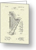 Instruments Drawings Greeting Cards - Harp Ekman 1905 Patent Art Greeting Card by Prior Art Design