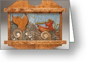 Woodworking Reliefs Greeting Cards - Harpooning the Whale Greeting Card by James Neill