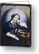 Daguerreotype Greeting Cards - HARRIET BEECHER STOWE (1811-1896). American abolitionist and writer. Oil over a daguerrotype, c1852 Greeting Card by Granger