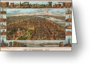 Vintage Map Digital Art Greeting Cards - Harrisburg Pennsylvania 1855 Greeting Card by Donna Leach