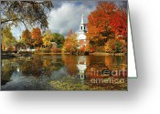 New England Autumn Greeting Cards - Harrisville New Hampshire - New England Fall Landscape white steeple Greeting Card by Jon Holiday