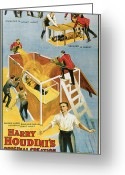 Magic Trick Greeting Cards - Harry Houdini Buried Alive Greeting Card by Unknown