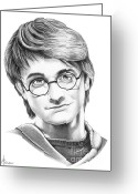 Graphite Greeting Cards - Harry Potter Greeting Card by Murphy Elliott
