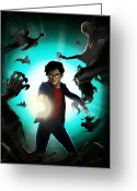 Spell Greeting Cards - Harry vs. The Dementors Greeting Card by Christopher Ables
